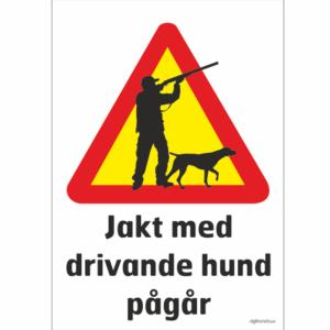 jägare med hund varningsmärke som varnar för jakt som pågår