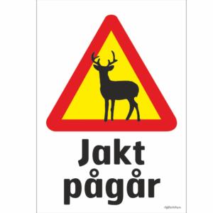 hjort rådjur varningsmärke som varnar för jakt som pågår