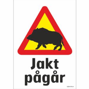 vildsvin varningsmärke som varnar för jakt som pågår